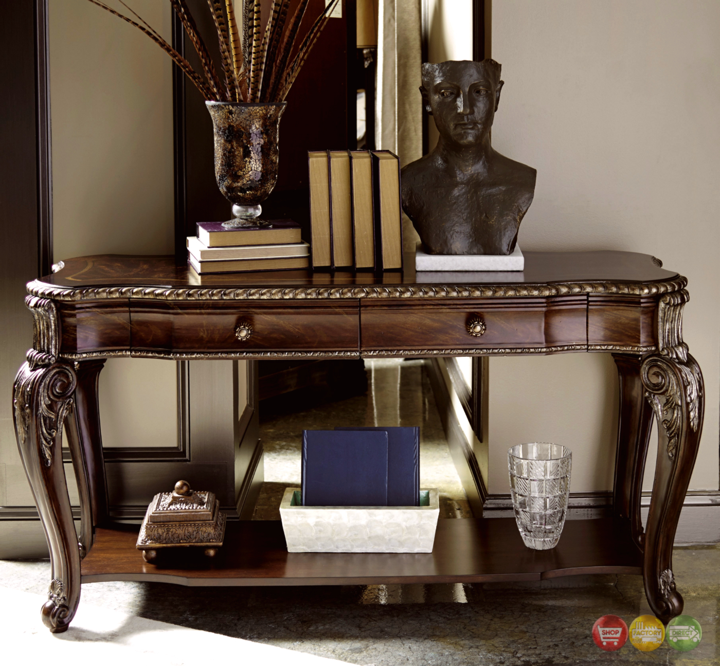 Gables 2 Drawer Antique Cherry Console Table With Carved