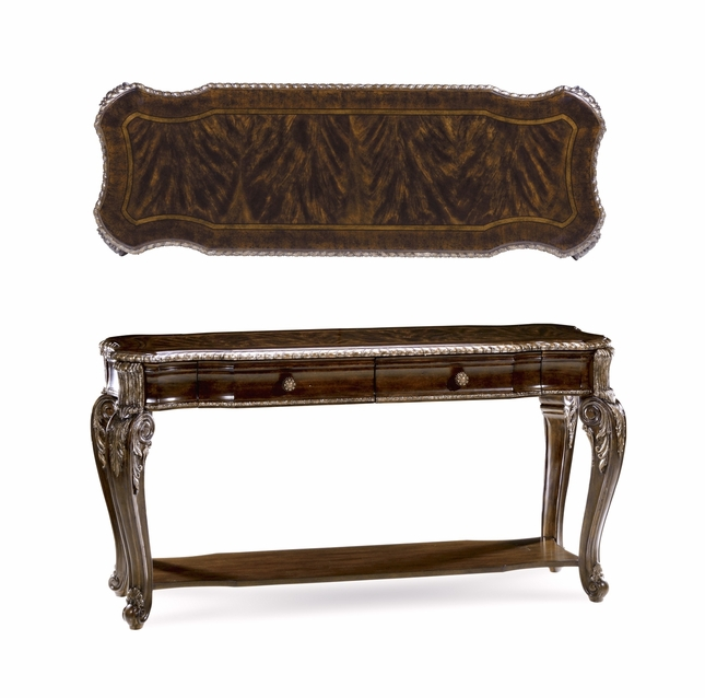 Gables 2-Drawer Antique Cherry Console Table with Carved Silver Details