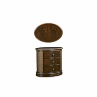 Gables 3-Drawer Antique Dark Cherry Oval Nightstand with Quilted Panels
