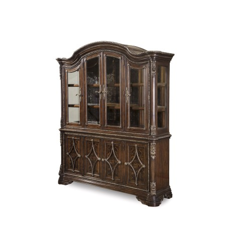 Gables Antique Cherry China Cabinet with Distressed Mirror Back - Antique Cherry China Cabinet With Distressed Mirror Back