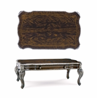 Gables Antique Cherry Storage Cocktail Table With Carved Silver Details