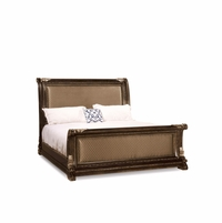 Gables Antique Dark Cherry California King Quilted Sleigh Bed with Exotic Veneer