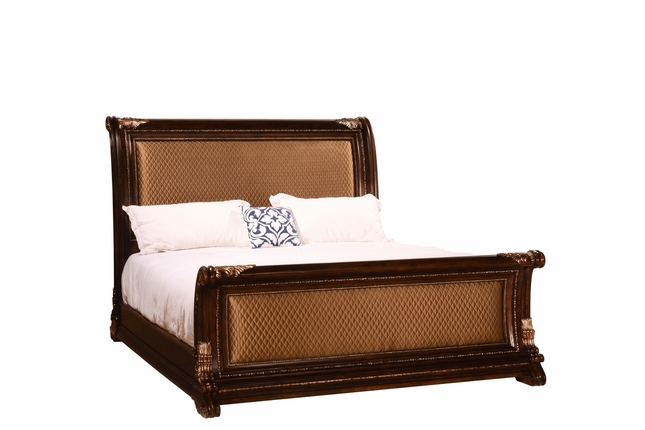 Gables Antique Dark Cherry King Quilted Sleigh Bed with Exotic Veneer