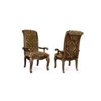 Set of 2, Gables Antique Dark Cherry Upholstered Arm Chair with Back Fretwork