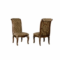 Set of 2, Gables Antique Dark Cherry Upholstered Side Chair with Back Fretwork