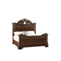 Gables Exotic Crotch Okuma Veneer King Bed with Dark Cherry Finish