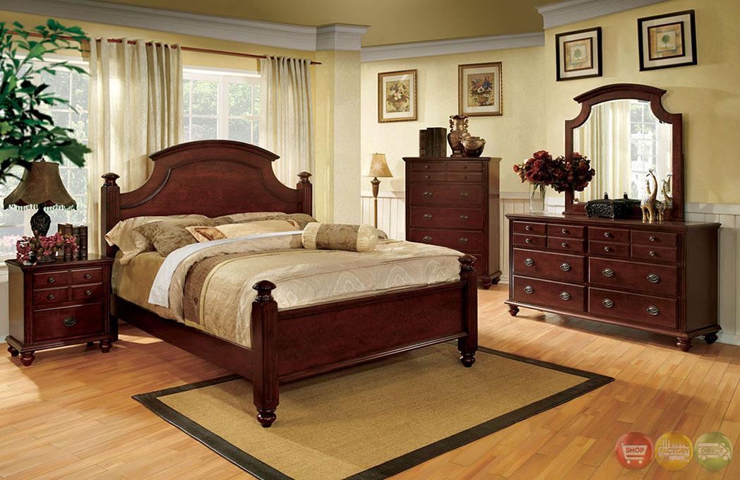 Gabrielle ii elegant european cherry bedroom set with for Elegant bedroom furniture