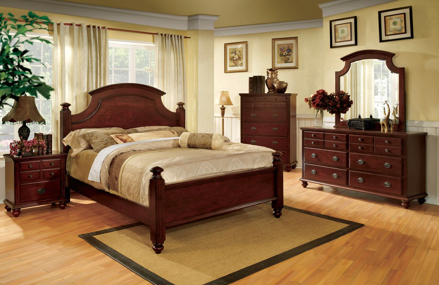 Gabrielle II Elegant European Cherry Bedroom Set With