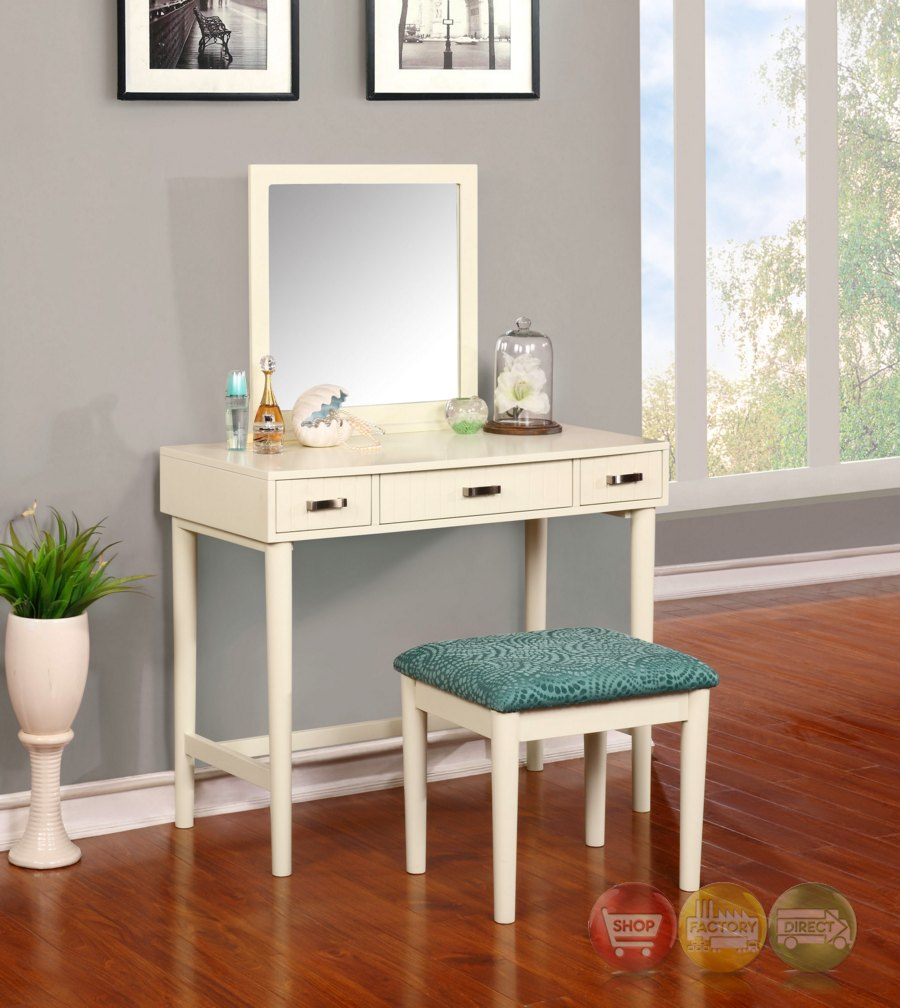 garbo simple white bedroom vanity set with bench. Black Bedroom Furniture Sets. Home Design Ideas