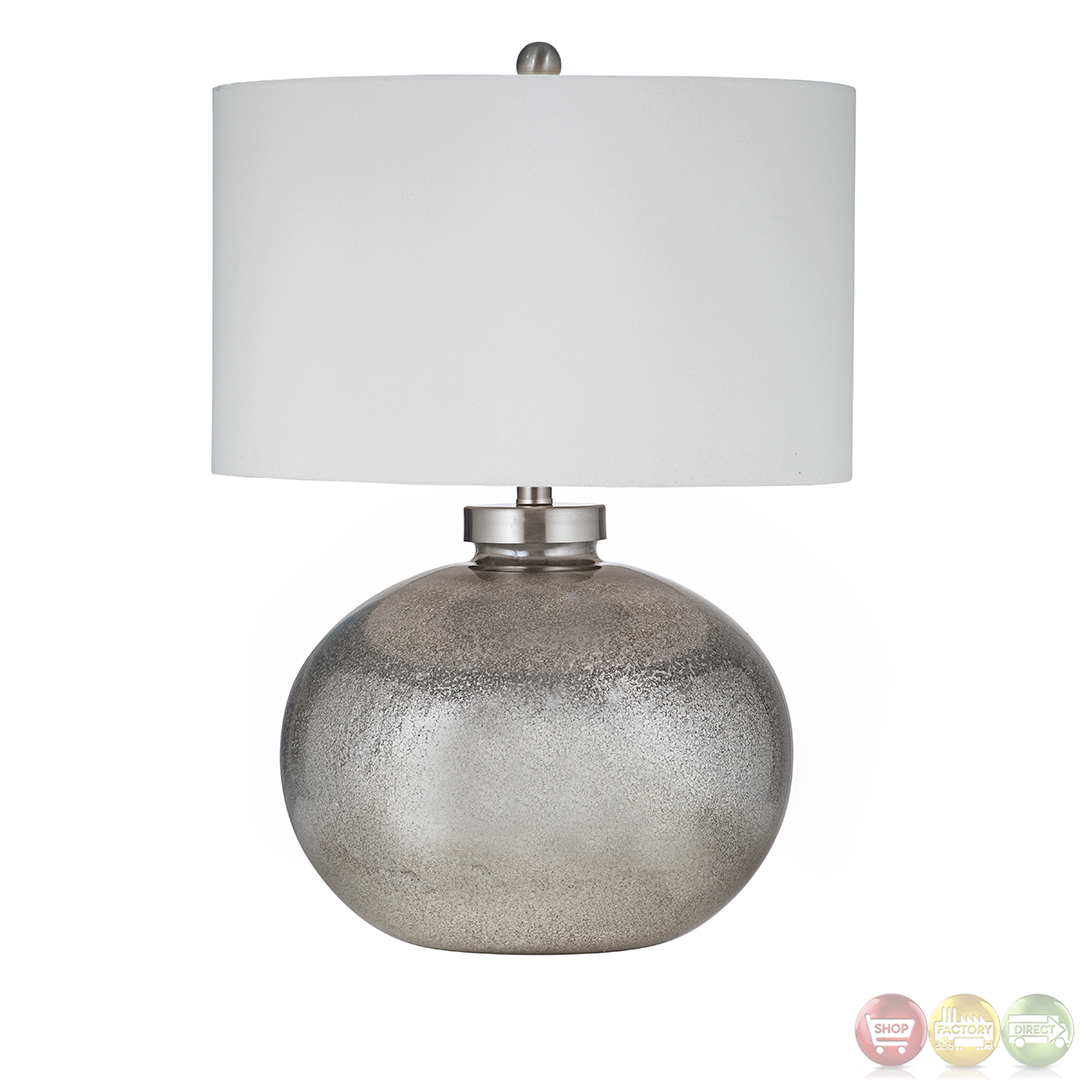 Gardena silver leaf and black table lamp l2737tec for Black and silver lamps