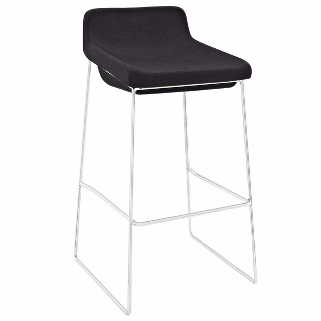 Garner Contemporary Upholstered Bar Stool With Aluminum Base, Black