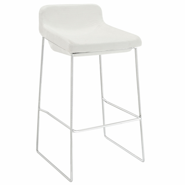 Garner Contemporary Upholstered Bar Stool With Aluminum Base, White