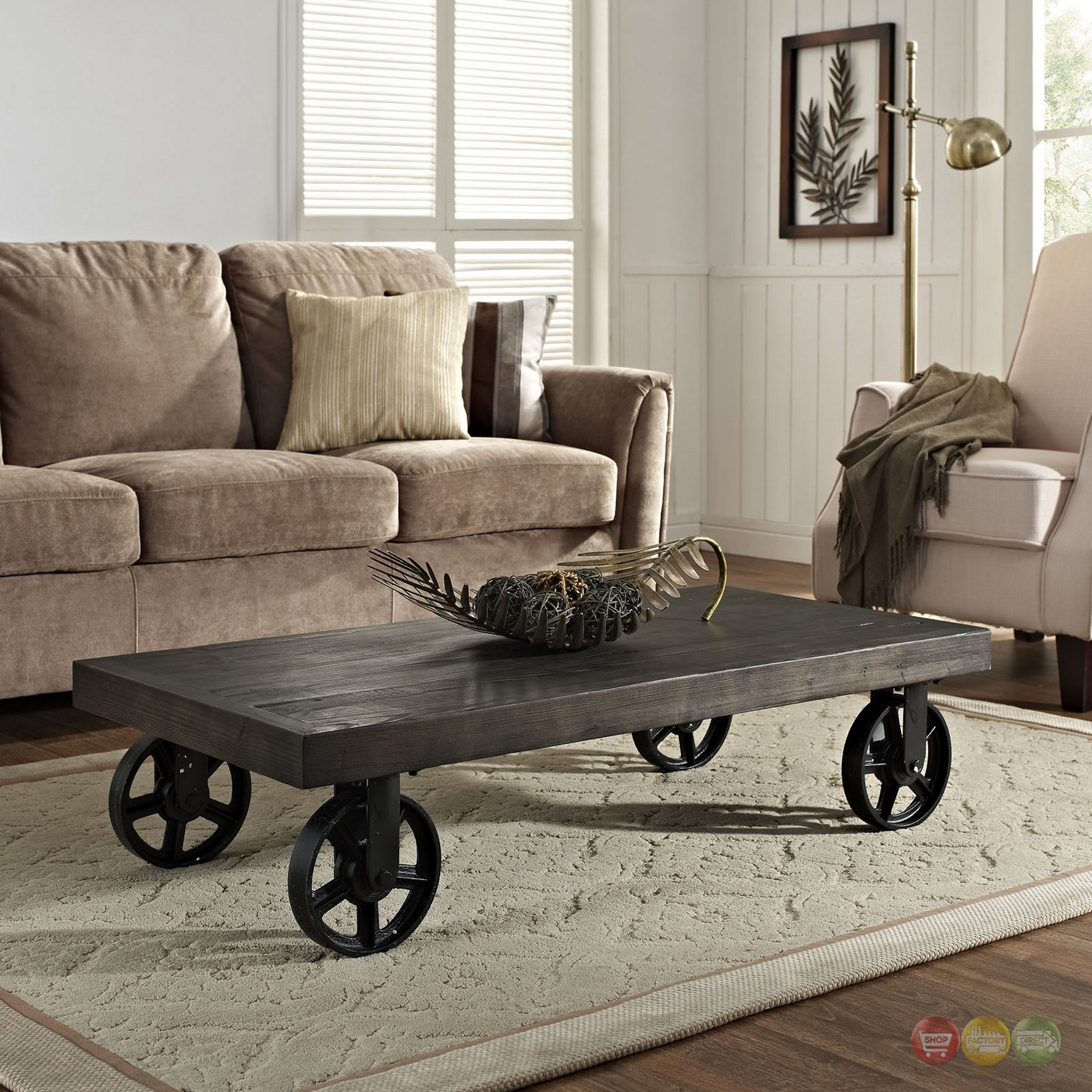 Garrison Industrial Solid Pine Wood Coffee Table With Metal Wheel Casters Black