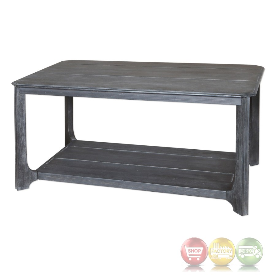 Garroway Acacia Wood Coffee Table With Lightly Distressed Brown Finish