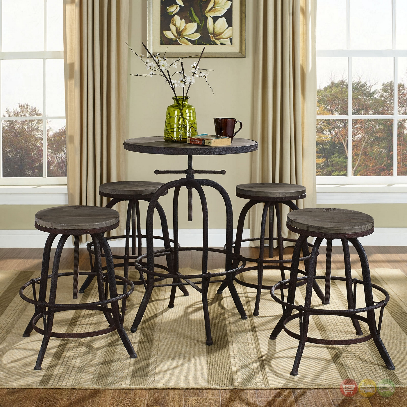 Gather Industrial Modern 5pc Dining Set W/wood Top And ...