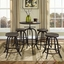 Gather Industrial Modern 5pc Dining Set w/ Wood Top And Cast Iron Frame, Brown