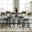 Gather Modern 5pc Wood Top Dining Set w/ Wood Seat Backs & Cast Iron Frame, Brown