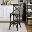 Gear Modern Country-inspired Bar Stool w/ Rattan Seat & Tapered Legs, Black