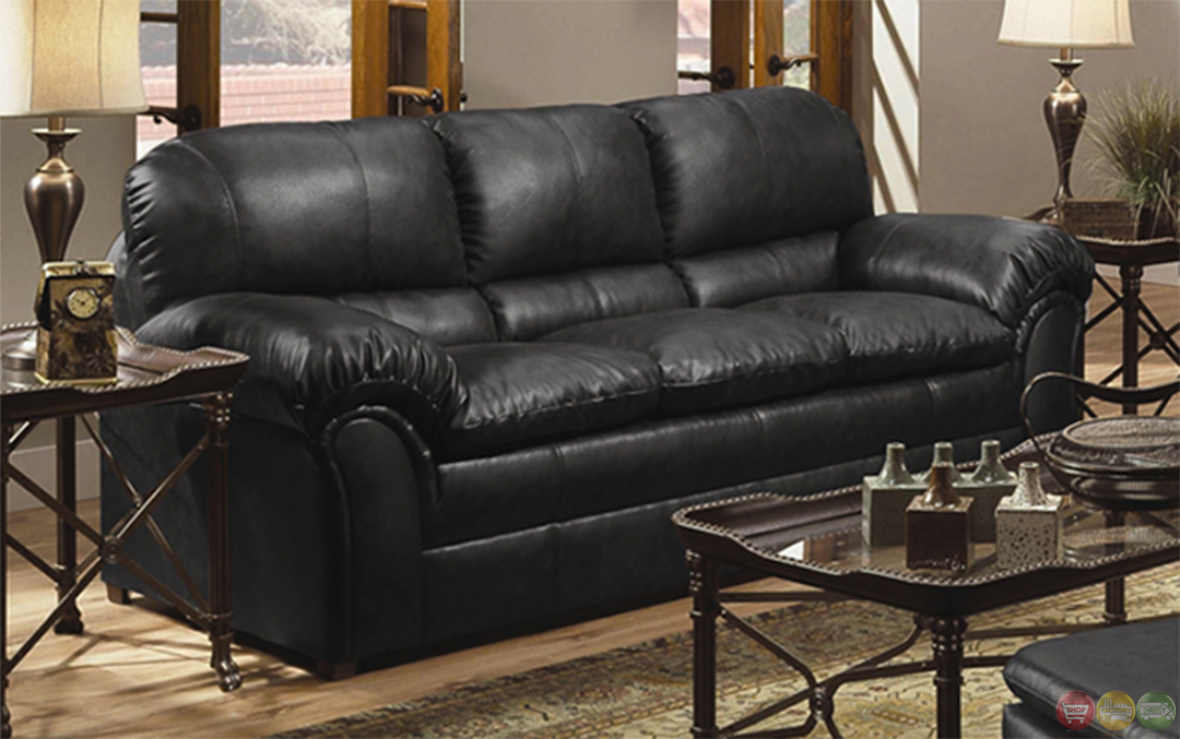 geneva black bonded leather casual sofa loveseat living room set. Black Bedroom Furniture Sets. Home Design Ideas