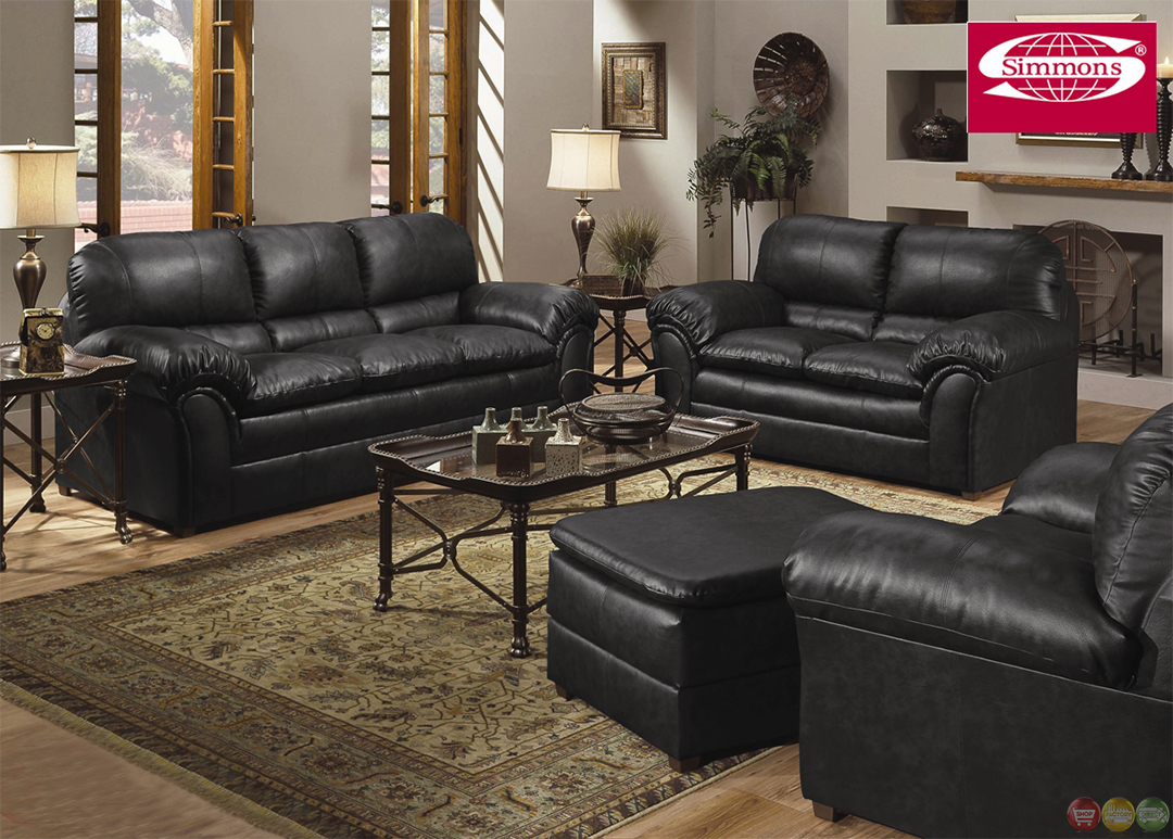 Geneva black bonded leather casual living room set for Leather living room furniture