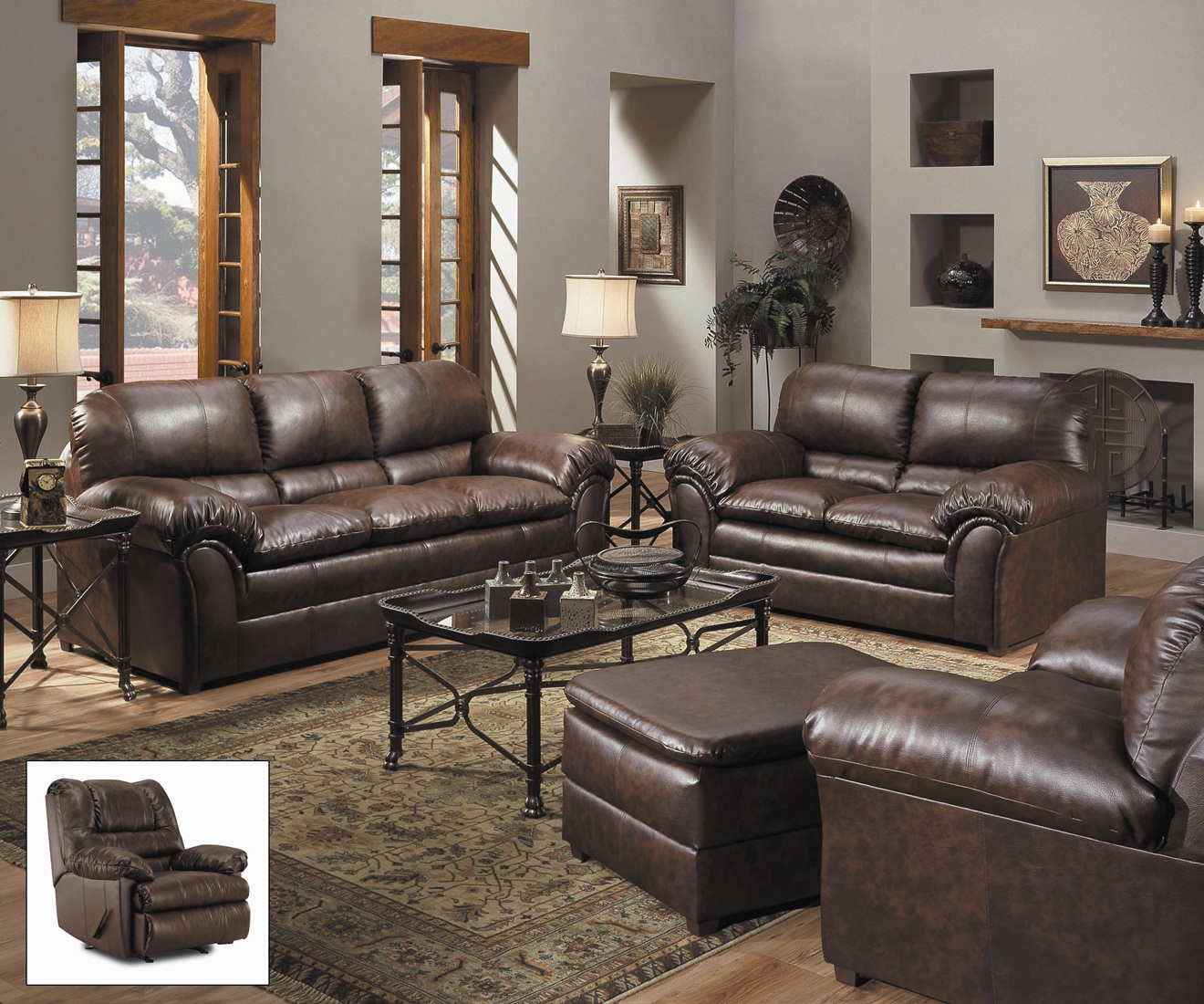 Geneva classic brown bonded leather living room furniture for Family room leather furniture
