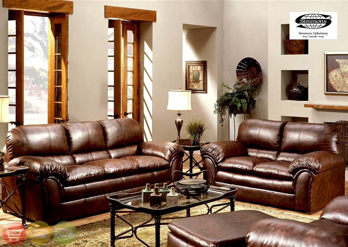 Geneva Classic Brown Leather Living Room Couch Set 6152s