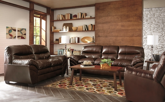 Tassler Classic Brown Bonded Leather Living Room Furniture Couch Set