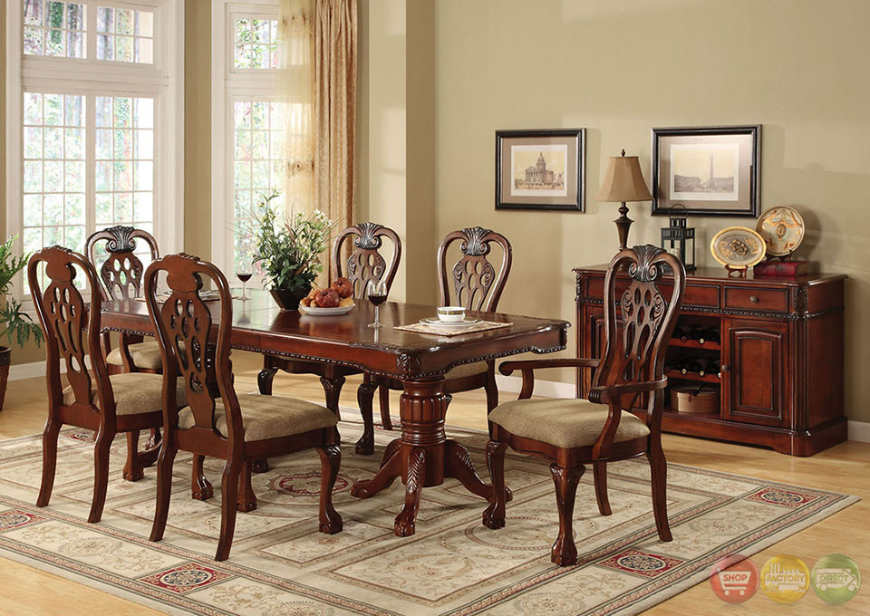 George town elegant cherry formal dining set with for Elegant dining room furniture