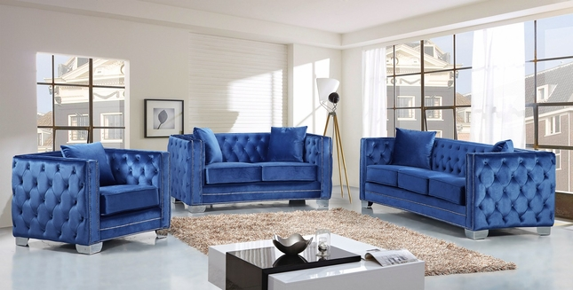 Gianni Modern Lt. Blue Button Tufted Velvet Sofa & Loveseat ...