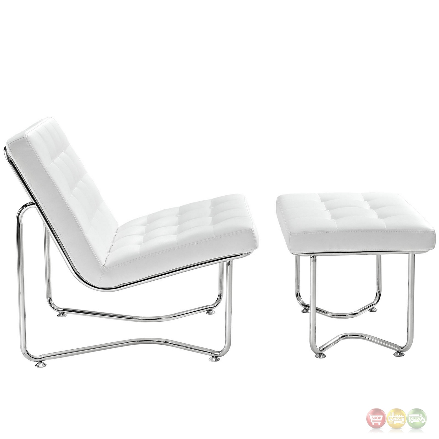 Gibraltar modernistic tilted vinyl lounge chair w matching for Matching lounge furniture