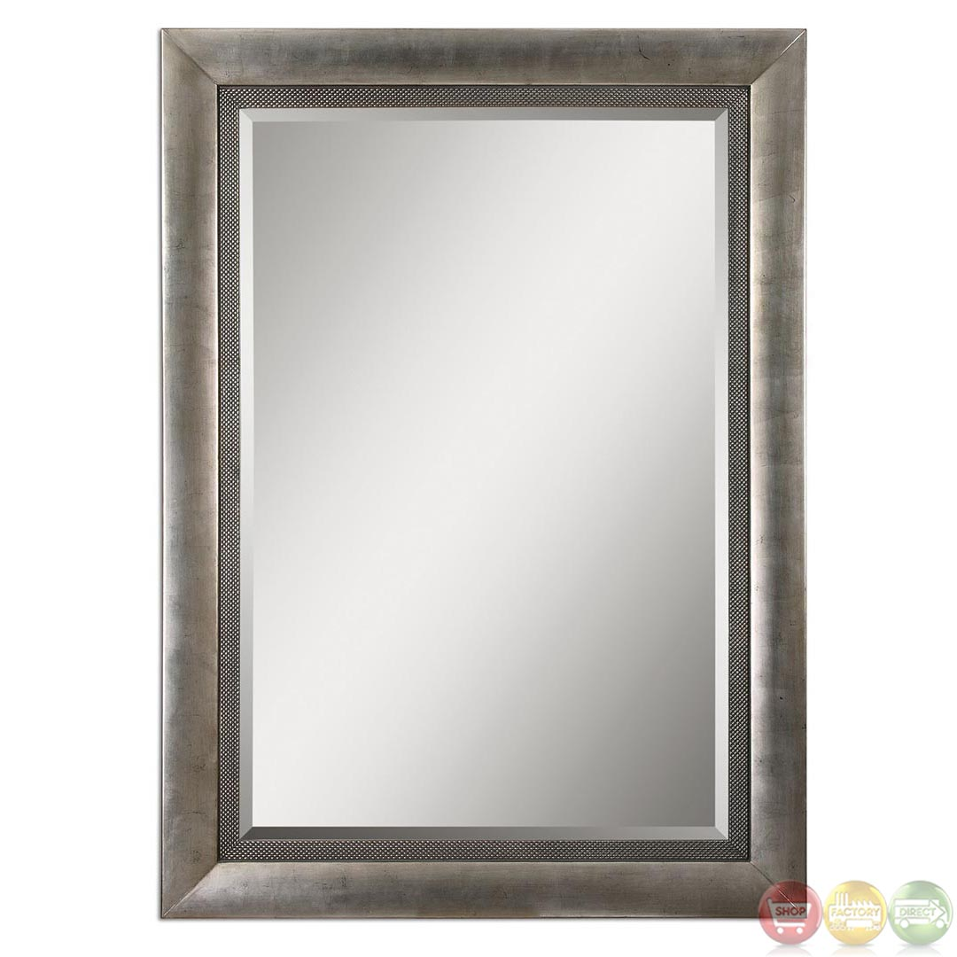 Gilford modern antiqued silver leaf large wood mirror 14207 for Large silver modern mirror