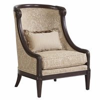 Giovanna Beige Italian Azure Accent Chair with Carved Wood Frame