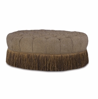 Giovanna Button Tufted Sable Cocktail Ottoman With Fringe Skirt
