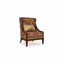 Giovanna Caramel Accent Chair with Red Damask And Wood Accents