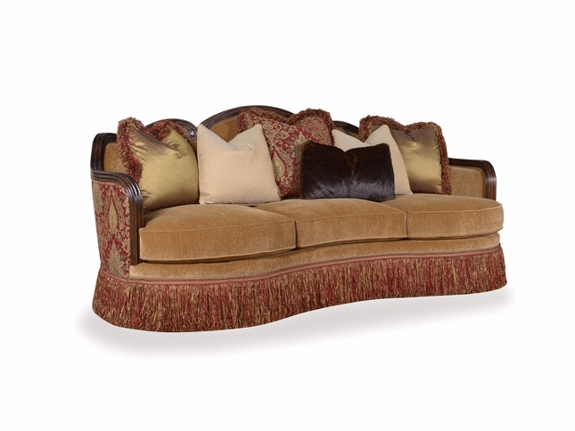 Giovanna Caramel Curved Sofa with Red Damask And Skirt Accents