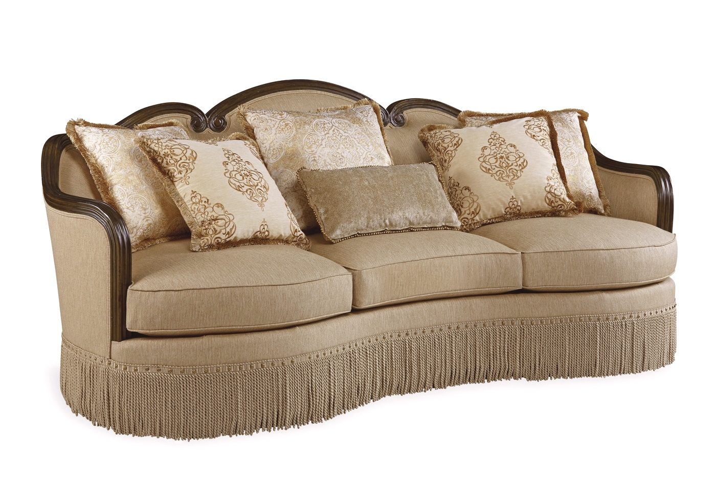 Giovanna european golden quartz curved sofa with carved