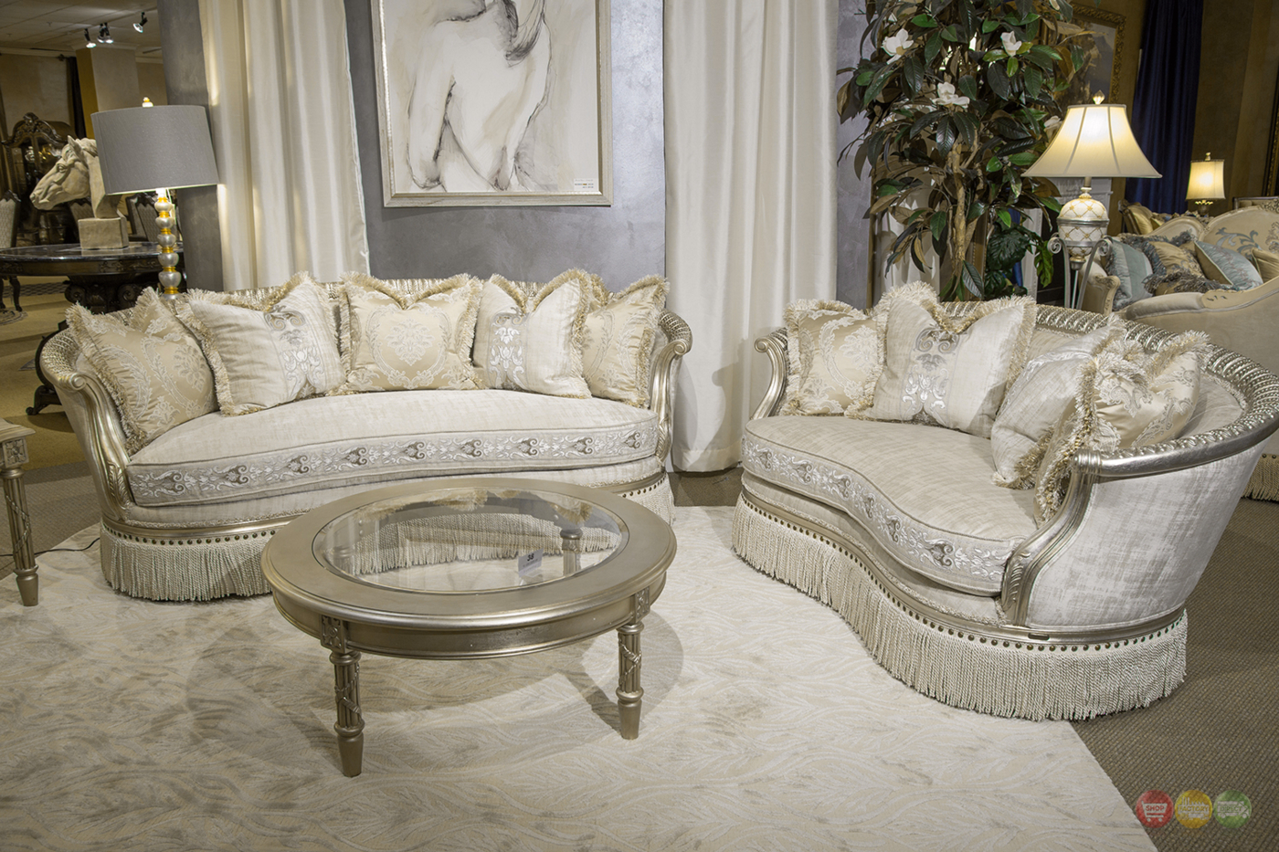 Giselle Royal Luxury Embroidered Sofa Loveseat In Platinum