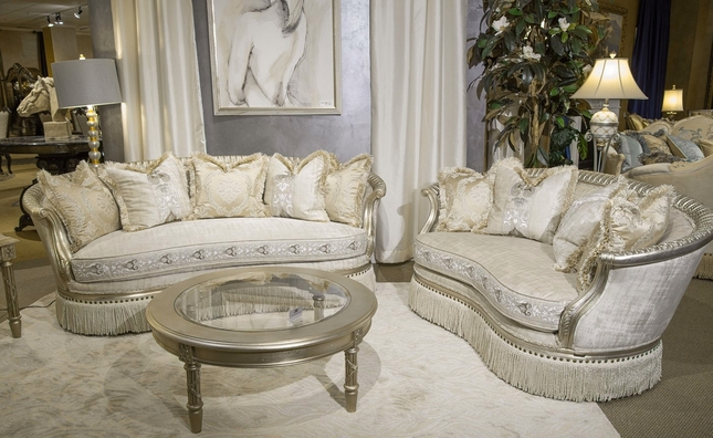 Terrific Giselle Royal Luxury Embroidered Sofa Loveseat In Platinum Home Interior And Landscaping Ponolsignezvosmurscom