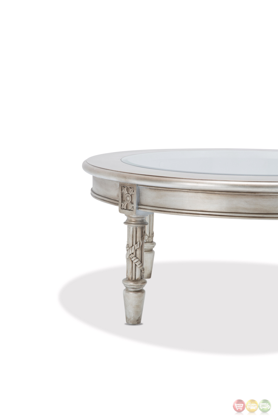 Giselle Luxury Traditional Ornate Glass Top Coffee Table In Platinum Finish
