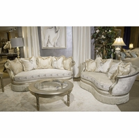 Giselle Royal Luxury Embroidered Sofa U0026 Loveseat In Platinum