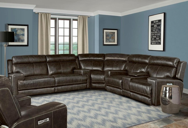Glacier Contemporary Power Dual Reclining Sectional Sofa in Graphite Finish