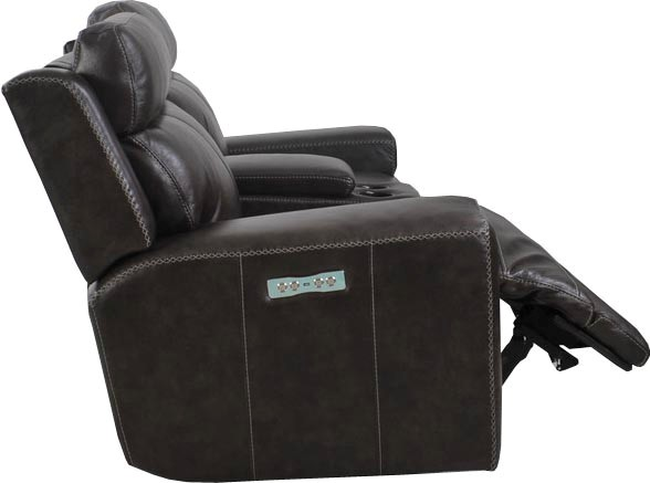 Glacier Graphite Power Leather Recliner With Power
