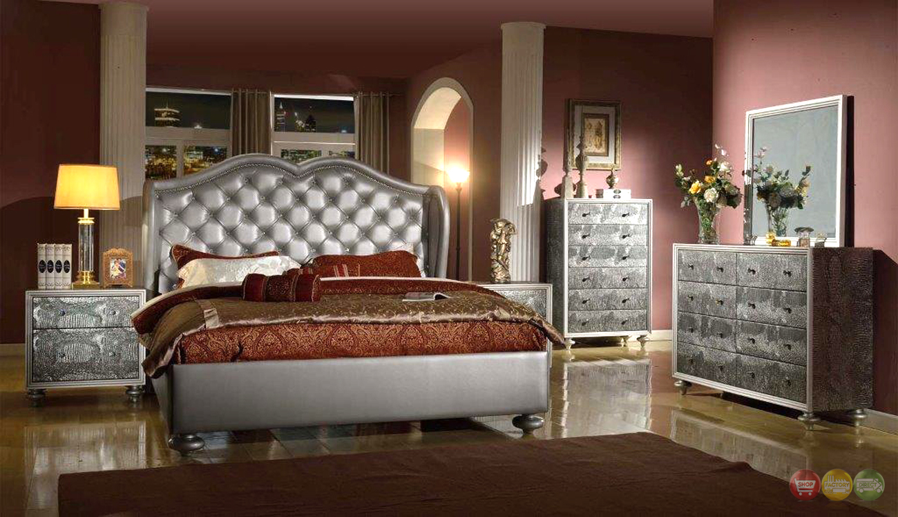 glamorous silver button tufted wing back bed faux croc