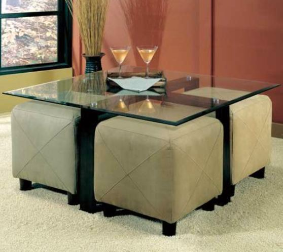 Glass Coffee Table and 4 Ottoman Storage Cube Seating