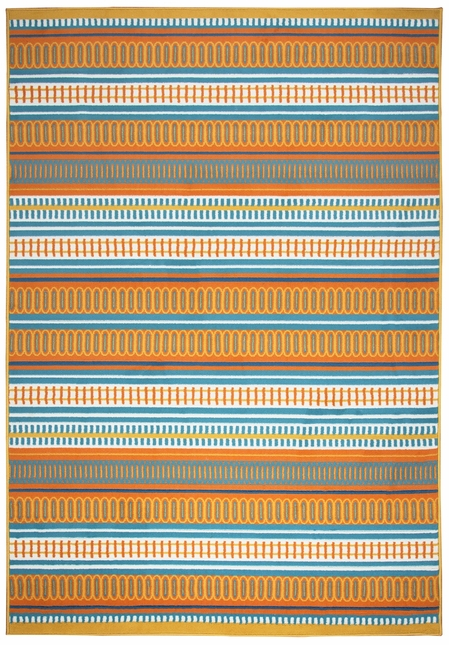 Glendale Detailed Stripes Area Rug In Orange Yellow Blue 2 3 X 4