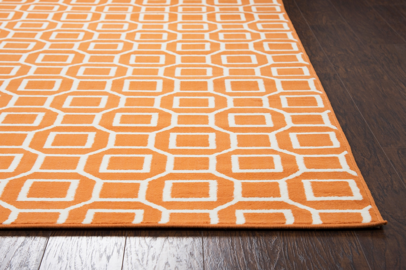 Glendale geometric squares pattern area rug in orange for Geometric pattern area rugs