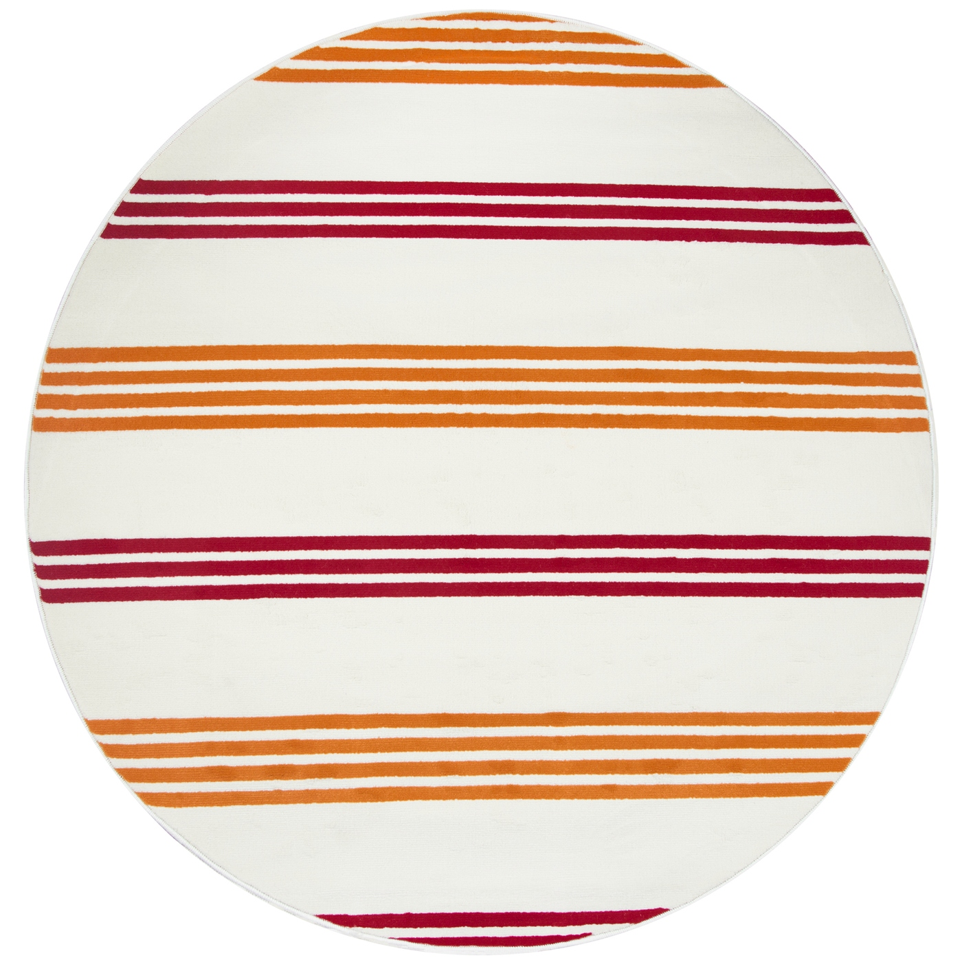 Glendale Minamalist Stripes Round Rug In Off White Red