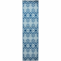 """Rizzy Home Glendale Outdoor Rectangle Runner Area Rug 2'3 x 7'7"""" Navy Blue White"""