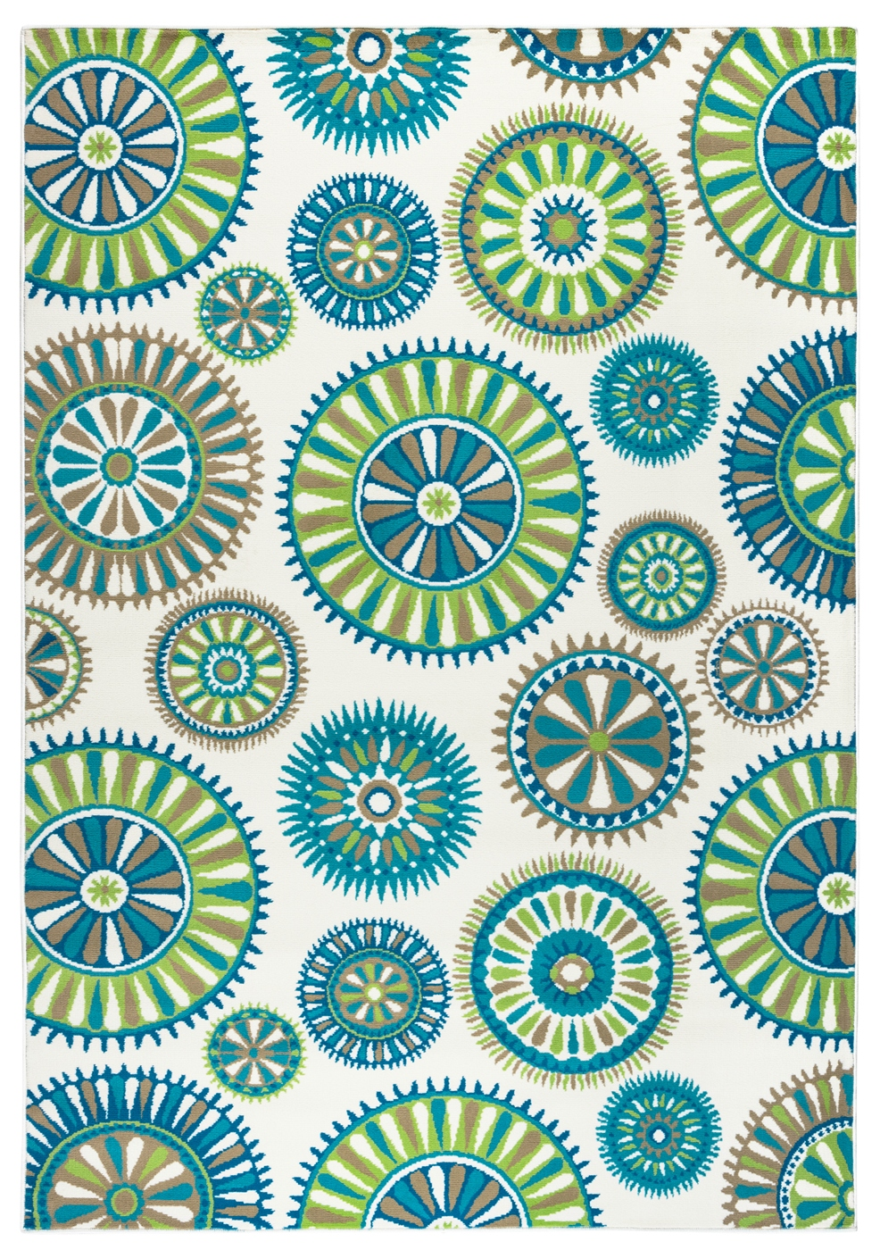Glendale Psychedelic Medallion Area Rug In Ivory Green