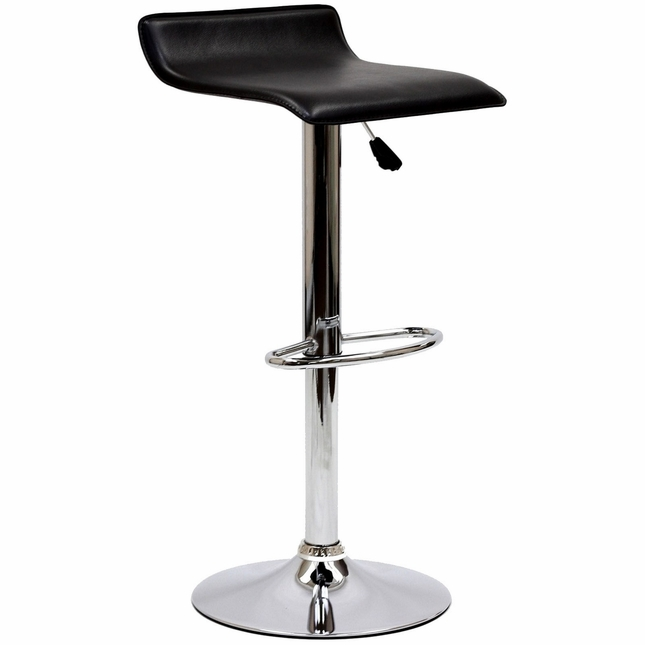 Gloria Modern Adjustable Vinyl Bar Stool w/ Chrome Base & Foot Rest, Black